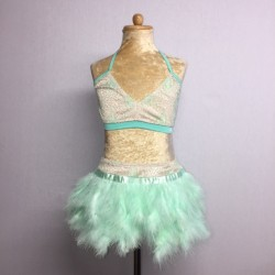 USA Lace Crop Top and Feather Skirt Mint