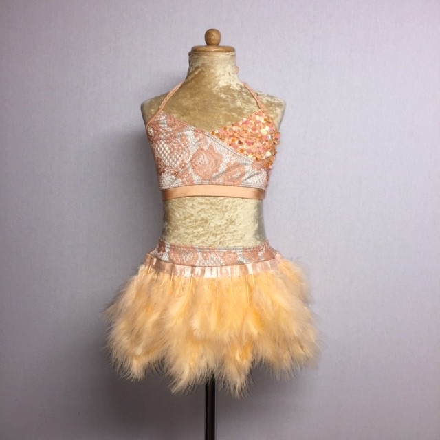 USA Lace Crop Top and Feather Skirt Apricot