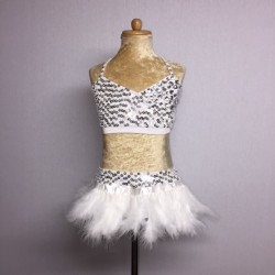 USA Crop Top and Feather Skirt Set White Silver