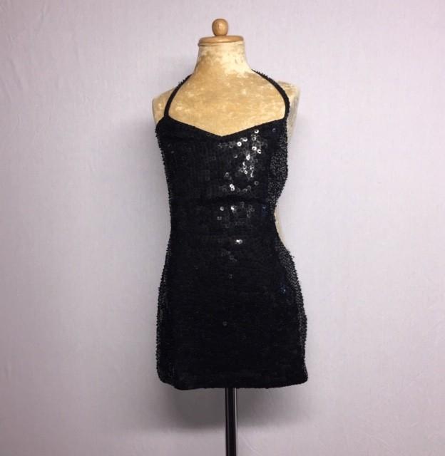 Kiki Low Back Sequin Dress Black