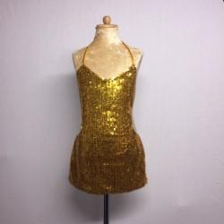 Kiki Low Back Sequin Dress Gold