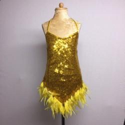 Kiki Sequin Feather Dress Gold