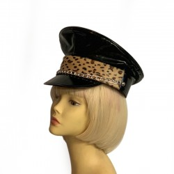 Biker Hat with Leopard Trim and Chain