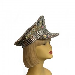 Sequined Festival Hat - Silver