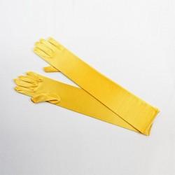 Yellow Elbow Length Satin Glove
