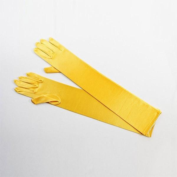 Elbow Length Satin Glove Yellow