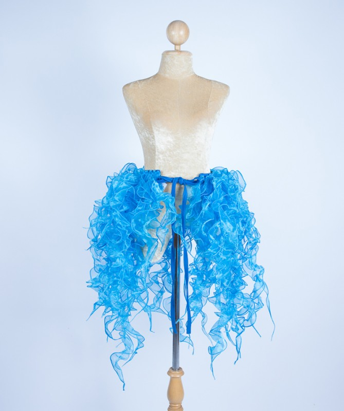 Organza Bustle Seaweed Skirt Aqua