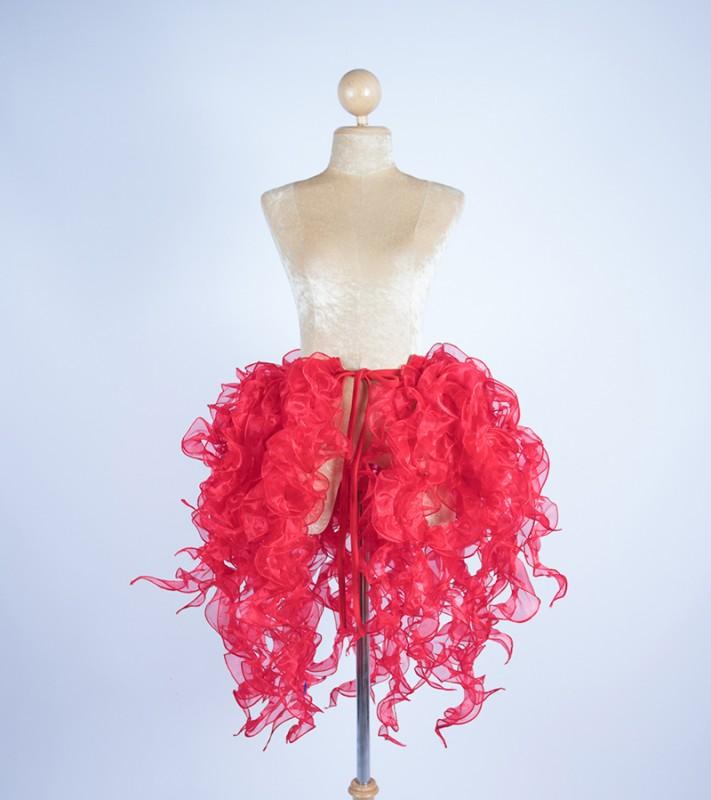Organza Bustle Seaweed Skirt Red