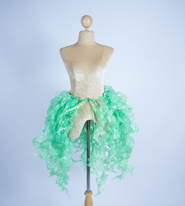 Organza Bustle Seaweed Skirt Light Green