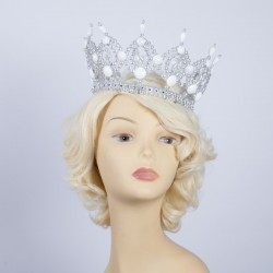 Deluxe Plastic Crown Clear Pearl