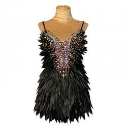 Deluxe Diamanté Feather Dress Black