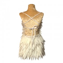 Deluxe Diamanté Feather Dress White