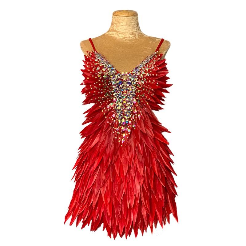 Deluxe Diamanté Feather Dress Red