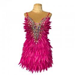 Deluxe Diamanté Feather Dress Hot Pink