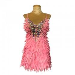 Light Pink Deluxe Diamanté Feather Dress