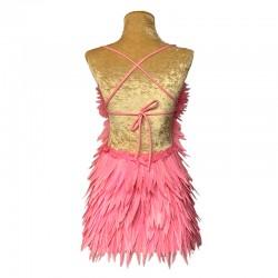 Deluxe Diamanté Feather Dress Light Pink