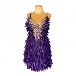 Deluxe Diamanté Feather Dress Dark Purple