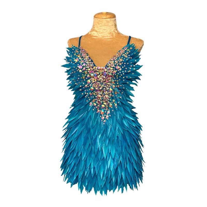 Deluxe Diamanté Feather Dress Aqua