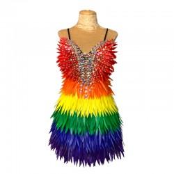 Rainbow Deluxe Diamanté Feather Dress