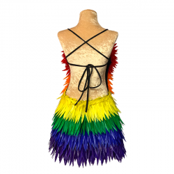 Deluxe Diamanté Feather Dress Low Back Rainbow