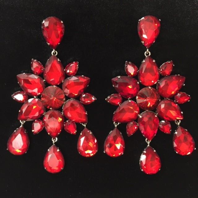 Red Crystal Diamante Dangle Earring