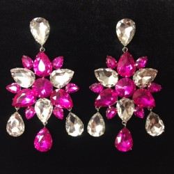 Hot Pink and Clear Crystal Diamante Dangle Earring