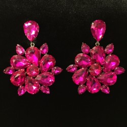 Hot Pink Crystal Diamante Round Earring