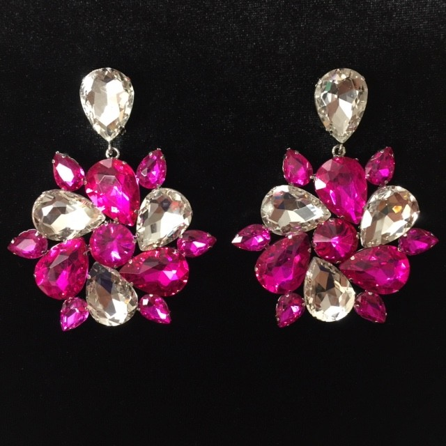 Hot Pink and Clear Crystal Diamante Round Earring