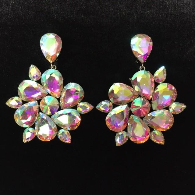 Aurora Borealis Crystal Diamante Round Earring