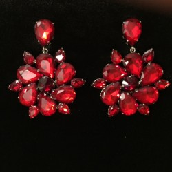 Red Crystal Diamante Round Earring
