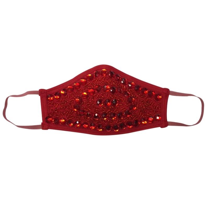 Fashion Face Mask - Diamanté Red