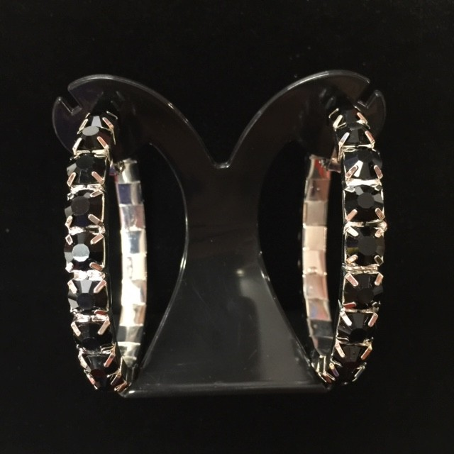 Black Crystal Classic Showgirl Hoops  House Of Priscilla