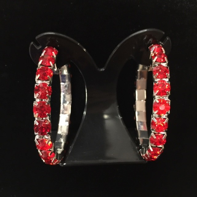 House Of Priscilla Classic Showgirl Hoops Red Crystal