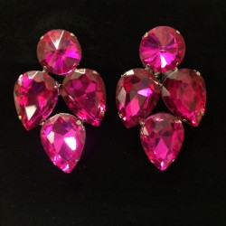 S16 Hot Pink Crystal Earring