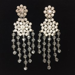 Clear Crystal Diamante Showgirl Earring M1