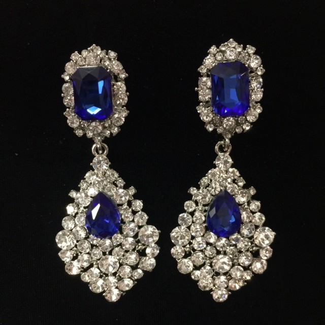 Royal Blue and Clear Crystal Diamante Earring S32