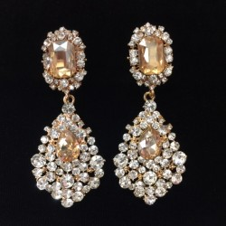 Gold and Clear Crystal Diamante Earring S35