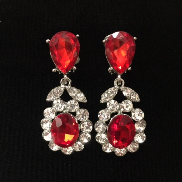 Red and Clear Crystal Diamante Earring S36