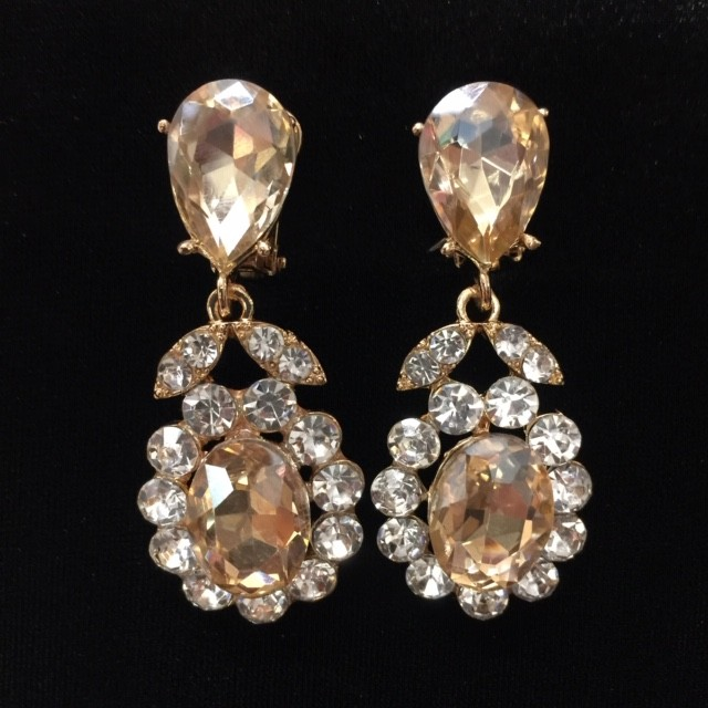 Gold and Clear Crystal Diamante Earring S38