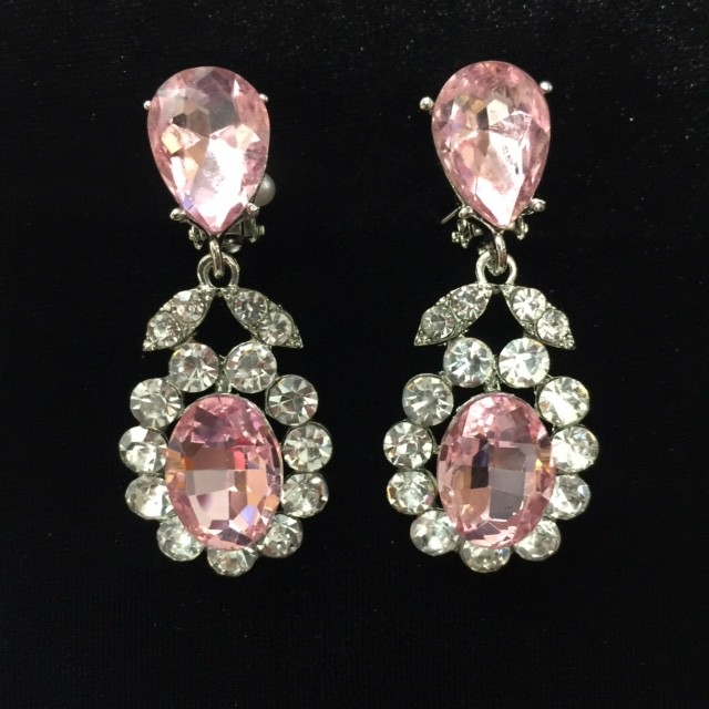Light Pink and Clear Crystal Diamante Earring S39