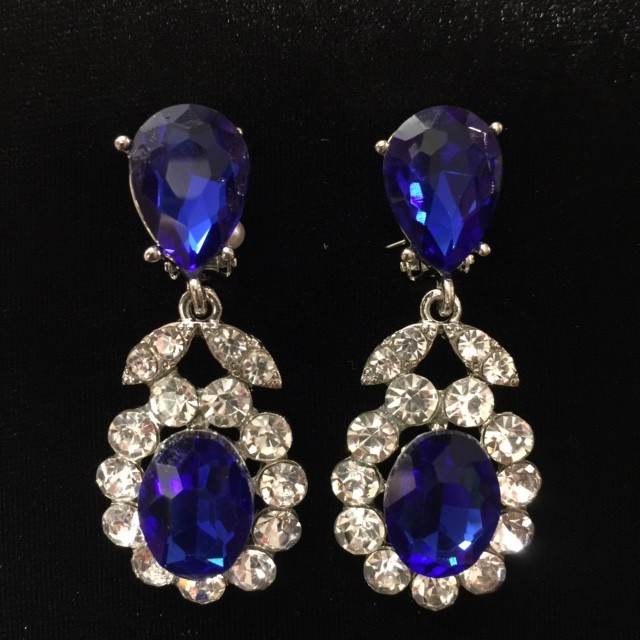 Royal Blue and Clear Crystal Diamante Earring S41