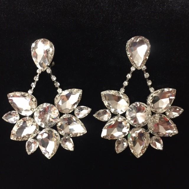 Clear Crystal Diamante Boat Earring