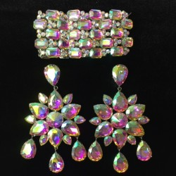 Crystal Dangle Earring and...