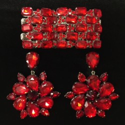 Crystal Round Earring and Bracelet Combo Pack - Red