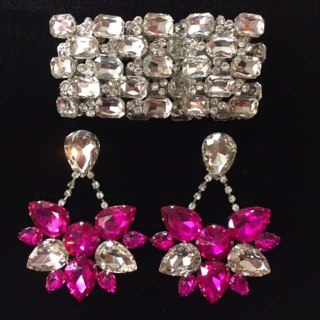 Crystal Boat Earring and Bracelet Set Clear and Hot Pink