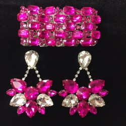 Crystal Bracelet and Boat Earring Combo Pack Clear Crystal and Hot Pink