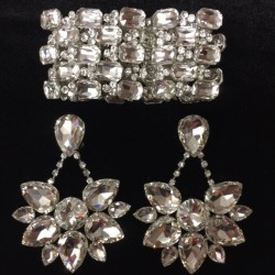 Crystal Boat Earring and Bracelet Set Clear
