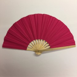 Hot Pink Bamboo Handle Party Fan