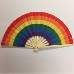 Rainbow Bamboo Handle Party Fan