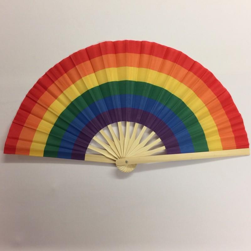 Bamboo Handle Party Fan Rainbow